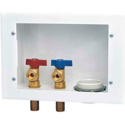 """Oatey 38996 Reversible Metal Washing Machine Outlet Box 1/4 Turn, Hammer, Copper Swt, 2"""" Rubber, SP"""