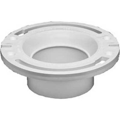 """Oatey 43527 3"""" Or 4"""" PVC Closet Flange With Plastic Ring, Long Mounting Slots - With Test Cap - Pkg Qty 12"""
