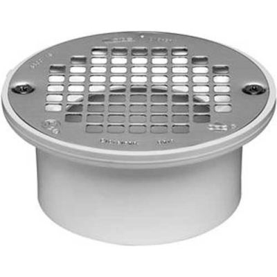 """Oatey 43583 3"""" Or 4"""" PVC General Purpose Drain with 5"""" Stainless Steel Screw-Tite Strainer - Pkg Qty 12"""