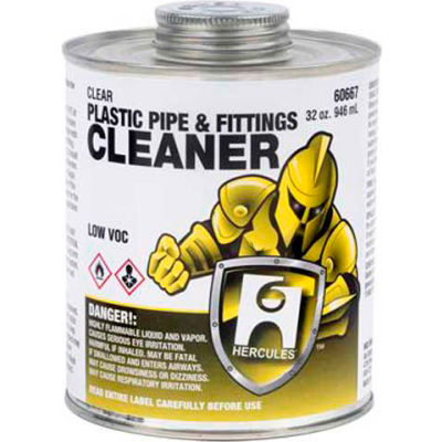 Hercules 60652 Plastic Pipe And Fittings Cleaner - Clear- Dauber In Cap 4 oz. - Pkg Qty 12