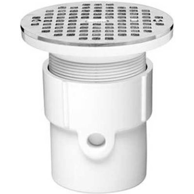 """Oatey 72019 4"""" PVC Hub Base General Purpose Drain with 5"""" Stainless Steel Grate"""