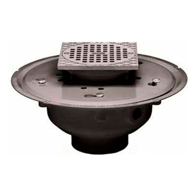 """Oatey 72043 3"""" or 4"""" PVC Adjustable Commercial Drain with 5"""" Brass Grate & Square Ring"""