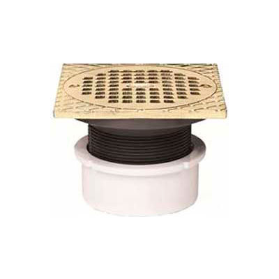 "Oatey 72077 3"" or 4"" PVC Adjustable General Purpose Drain with 5"" Nickel Grate & Square Ring"
