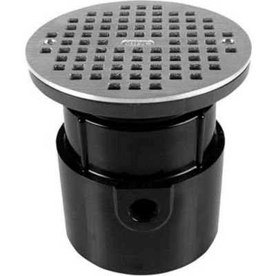 "Oatey 72129 4"" PVC Hub Base Adjustable General Purpose Drain with 6"" Brass Grate"