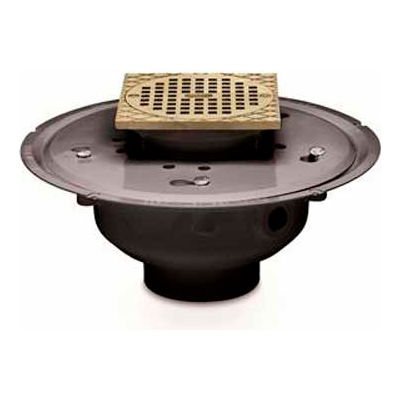 """Oatey 72146 6"""" PVC Adjustable Commercial Drain with 6"""" Brass Grate & Square Ring"""
