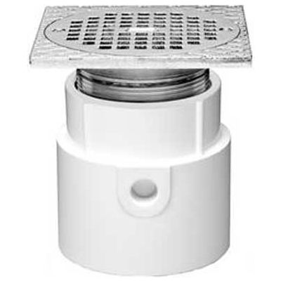 """Oatey 72297 3"""" or 4"""" PVC Adjustable General Purpose Pipe Fit Drain w/ 6"""" Cast Nickel Grate & Sq Top"""