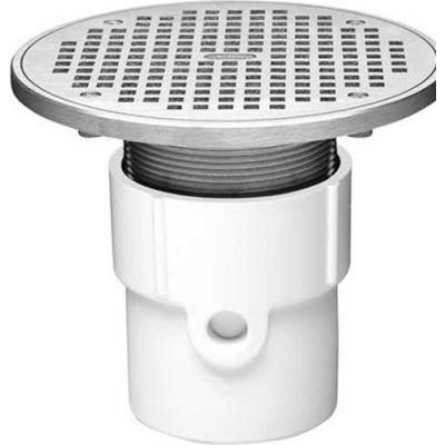 """Oatey 72337 3"""" or 4"""" PVC Adjustable General Purpose Pipe Fit Drain w/ 6"""" Cast Nickel Grate & Rd Top"""
