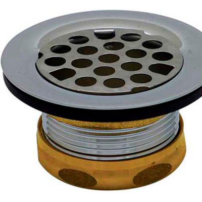 """Dearborn Brass 774A Tray Plug Sink Basket Strainer Brass Body w/Rubber Stopper for 2-1/2"""" Opening - Pkg Qty 12"""