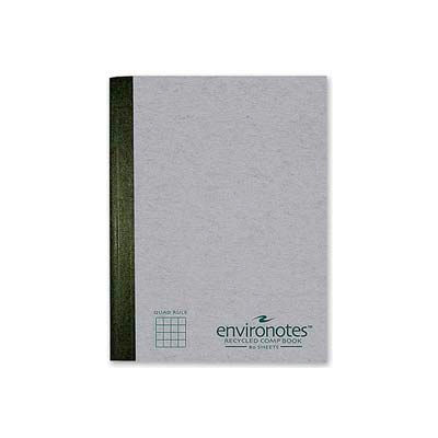 """Roaring Spring® Environotes Comp Book, 7-1/2"""" x 9-3/4"""", Quad Ruled, Mist Gray, 80 Sheets/Pad"""