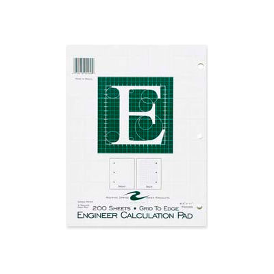 """Roaring Spring® Engineering Calculation Pad, 8-1/2"""" x 11"""", Quad Ruled, Green, 200 Sheets/Pad"""