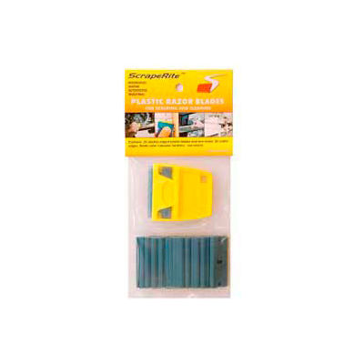 "Scraperite Plastic Razor Blades with Polycarbonate Holder, Blue, 3/5"" - SR 25 PCBE"