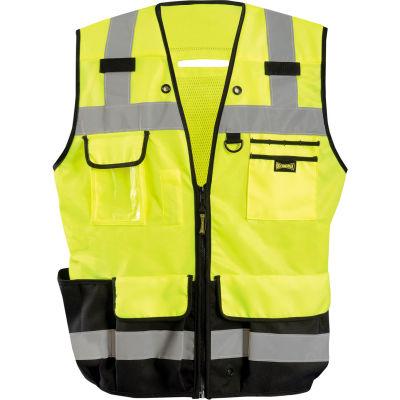 Occunomix LUX-HDSBK-YXL Heavy Duty Surveyor Vest, Class 2, Zipper, Solid, Black Bottom, XL