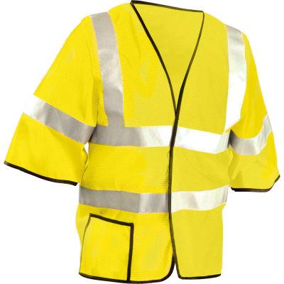 OccuNomix Class 3 Mesh Half Sleeve Vest Hi-Vis Yellow, L, LUX-HSCOOL3-YL