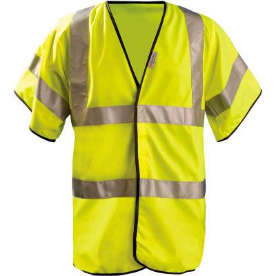 OccuNomix Premium Solid Dual Stripe Vest, Class 3, Half Sleeve, Hi-Vis Yellow, S, LUX-HSFULLG-YS