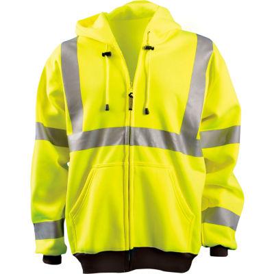 OccuNomix Full Zip Hoodie Sweatshirt Hi-Vis Yellow Large, LUX-HZSWT-YL