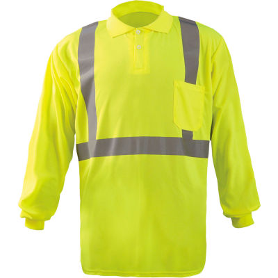 Occunomix LUX-LSPP2B-YS Birdseye Polo, Wicking & Cooling Long Sleeve, Class 2, Yellow, S