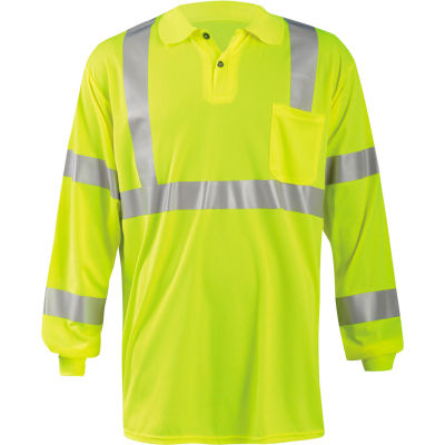 Occunomix LUX-LSPP3B-YS Birdseye Polo, Wicking & Cooling Long Sleeve, Class 3, Yellow, S