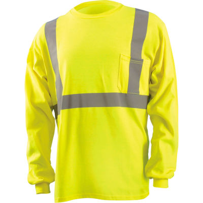 OccuNomix Classic Flame Resistant Long Sleeve T-Shirt, Class 2, Hi-Vis Yellow, L, LUX-LST2/FR-YL