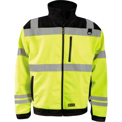 Occunomix LUX-M6JKT-Y3X High Visibility Soft Shell Jacket, Class 3, Type R, Black/Yellow, 3X
