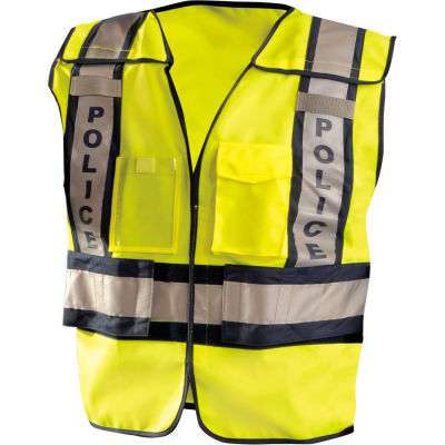 OccuNomix Premium Solid Public Safety Police Vest Hi-Vis Yellow, M/L, LUX-PSP-YM/L