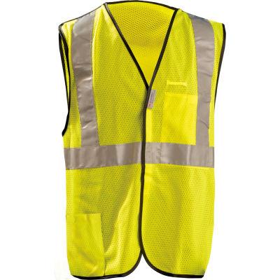 OccuNomix Premium Mesh 5-Pt. Break-Away Solid Vest, Class 2, Hi-Vis Yellow, 3XL, LUX-SSBRPC-Y3X
