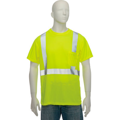 OccuNomix Standard Wicking Birdseye Class 2 T-Shirt W/ Pocket Hi-Vis Yellow, L, LUX-SSETP2B-YL