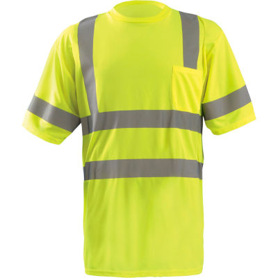 OccuNomix Class 3 Classic Wicking Birdseye T-Shirt with Pocket Yellow, L, LUX-SSETP3B-YL