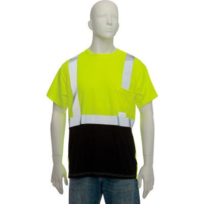 OccuNomix Class 2 Classic Black Bottom T-Shirt with Pocket Yellow, XL, LUX-SSETPBK-YXL