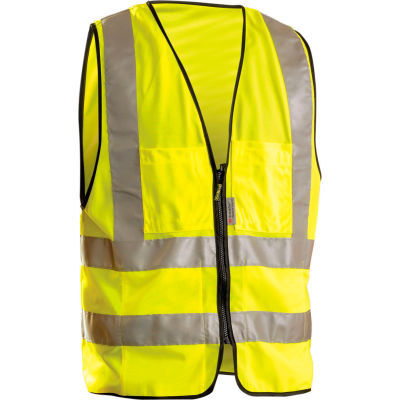OccuNomix Premium Solid Dual Stripe Surveyor Vest, Class 2, Hi-Vis Yellow, L, LUX-SSFS-YL