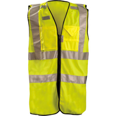 OccuNomix Premium Solid Stripe Surveyor Vest W/ Zipper, Class 2, Hi-Vis Yellow, 3XL, LUX-SSFULLZ-Y3X