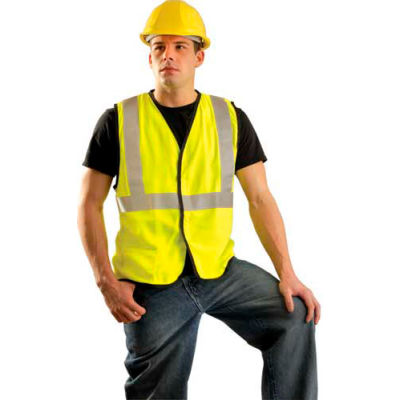 OccuNomix Premium Flame Resistant Solid Vest, Class 2, Hi-Vis Yellow, L, LUX-SSG/FR-YL