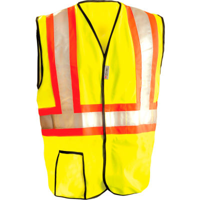 OccuNomix Premium Solid Two-Tone Vest, Class 2, Hi-Vis Yellow, 2XL, LUX-SSG2T-Y2X