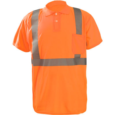 Occunomix LUX-SSPP2B-O2X Birdseye Polo, Wicking & Cooling, Short Sleeve, Class 2, Orange, 2XL