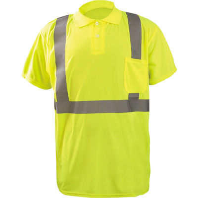 Occunomix LUX-SSPP2B-YL Birdseye Polo, Wicking & Cooling, Short Sleeve, Class 2, Yellow, L