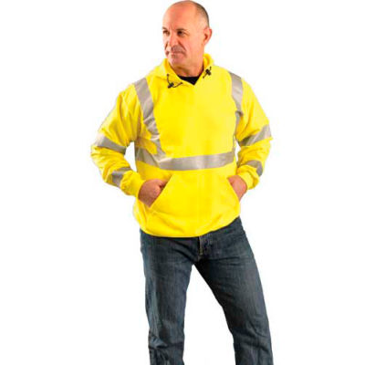 OccuNomix Premium Flame Resistant Pull-Over Hoodie Hi-Vis Yellow, XL, LUX-SWT3FR-YXL