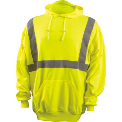 OccuNomix Classic Lightweight Hoodie, Class 2, Hi-Vis Yellow, ANSI, Class 2, 2XL, LUX-SWTLH-Y2X