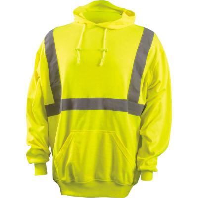 OccuNomix Classic Lightweight Hoodie, Class 2, Hi-Vis Yellow, ANSI, Class 2, XL, LUX-SWTLH-YXL