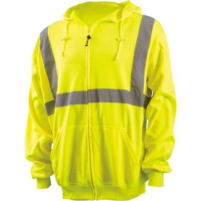 OccuNomix Zip Down Lightweight Hoodie, Class 2, Hi-Vis Yellow, ANSI, Class 2, L, LUX-SWTLHZ-YL