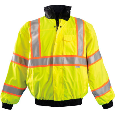 OccuNomix Premium Two-Tone Bomber Jacket, Class 3, Hi-Vis Yellow, 5XL, LUX-TJBJ2-Y5X
