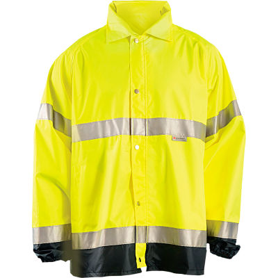 OccuNomix Breathable Foul Weather Coat, Class 3, Hi-Vis Yellow, 4XL, LUX-TJR-Y4X