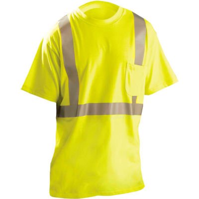 OccuNomix Flame Resistant Short Sleeve T-Shirt, Class 2, ANSI, Hi-Vis Yellow, 3XL, LUX-TP2/FR-Y3X