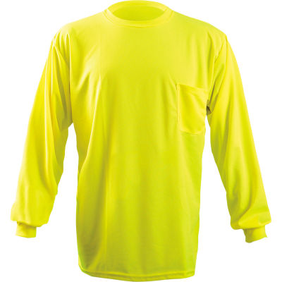 OccuNomix Long Sleeve Wicking Birdseye T-Shirt With Pocket Hi-Vis Yellow L, LUX-XLSPB-YL