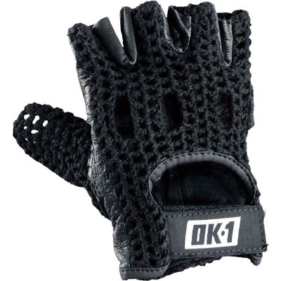 OccuNomix Knuckle Lifters Half-finger Gloves Full-Grain Leather, Black, L, 1 Pair, OK-NWGS-BLK-L