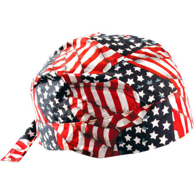 OccuNomix Deluxe Tie Hat With Elastic Rear Band Wavy Flag, 12 Pack, TN6-WAV - Pkg Qty 12