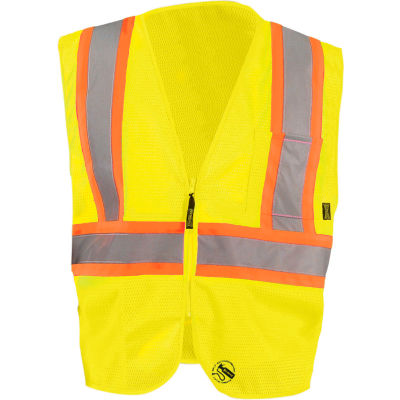 Occunomix TSE-IM2TZ-Y3X Self Extinguishing Standard Vest, Class 2, Two Tone, Yellow/Orange, 3XL