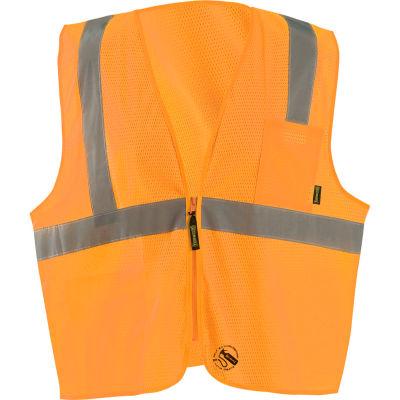 Occunomix Self-Extinguishing Standard Vest, Mesh, Class 2, Type R, Zipper, Orange, S