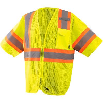 Occunomix Self-Extinguishing Vest, Mesh, Class 3, Type R, Two-Tone, Yellow/Orange, L