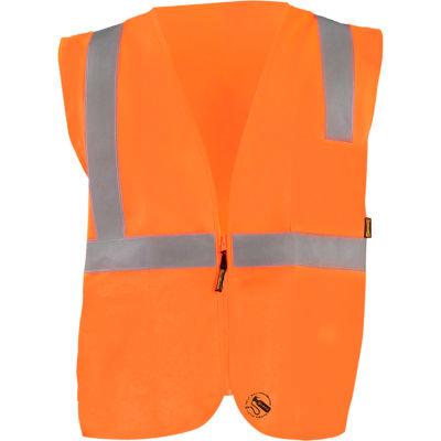 Occunomix Self-Extinguishing Standard Vest, Solid, Class 2, Type R, Zipper, Orange, 2XL