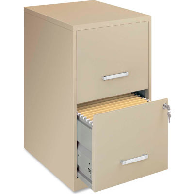 "Lorell® 18"" Deep 2-Drawer File Cabinet, Putty"