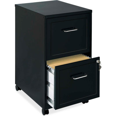 "Lorell® 18"" Deep 2-Drawer Mobile File Cabinet, Black"